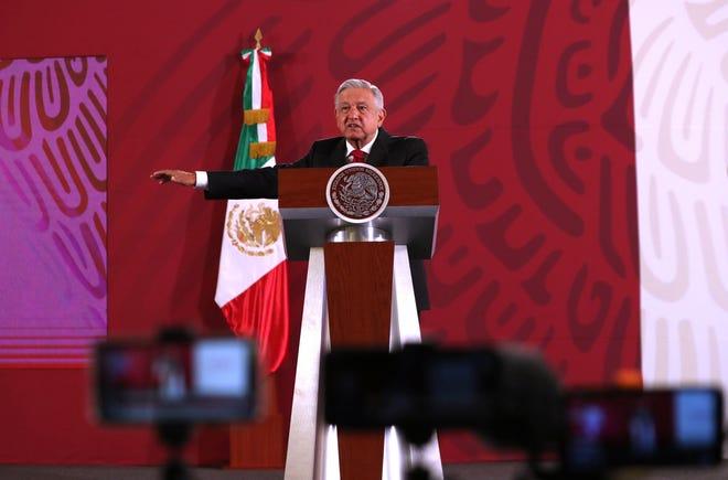El presidente de México, Andrés Manuel López Obrador, en su conferencia de prensa matutina en Palacio Nacional, en Ciudad de México (México).
