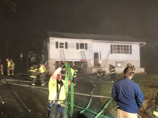 Firefighters responded Thursday, Dec. 13, 2019, to a blaze in the 1000 block of White Oak Road in Windsor Township.  Photo by Ron Musselman.