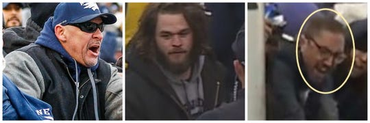 Three of the six fans wanted by University of Nevada police after coming in to contact with student athletes