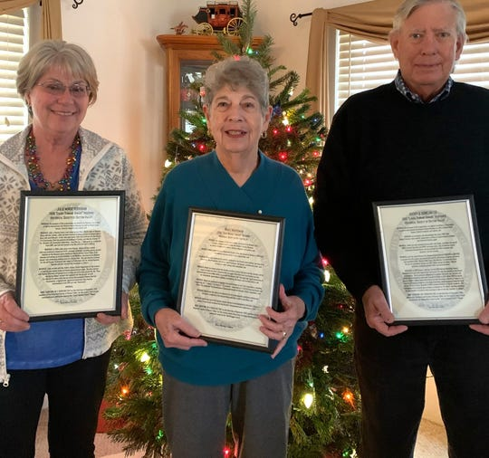 (From left) Julie Minor Workman, Mabel Masterman and Duncan Lee and his wife Kathy (not pictured) were honored as HSDV top volunteers.