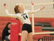 Harper High School's Gracie Green goes up for a kill during a volleyball match in 2019.