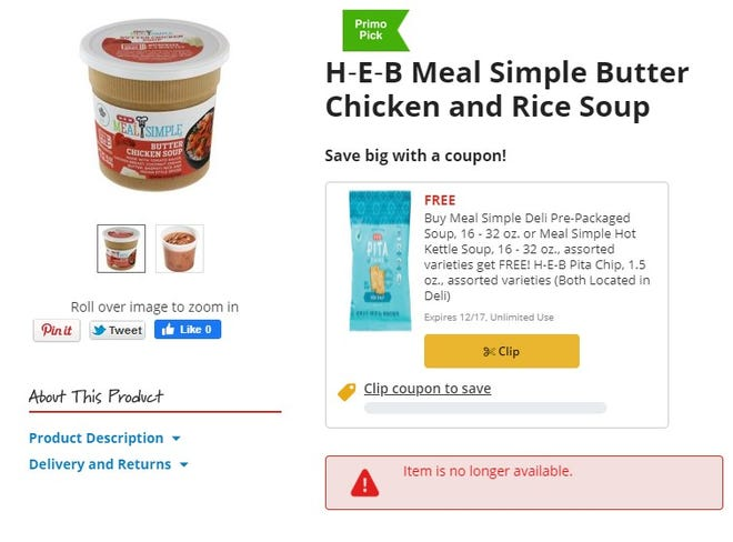 A public health alert was issued for H-E-B Meal Simple Butter Chicken Soup after inspectors discovered it was mislabeled and contains known allergens.