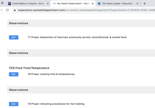 Virginia Dept. of Health's new restaurant inspection website.