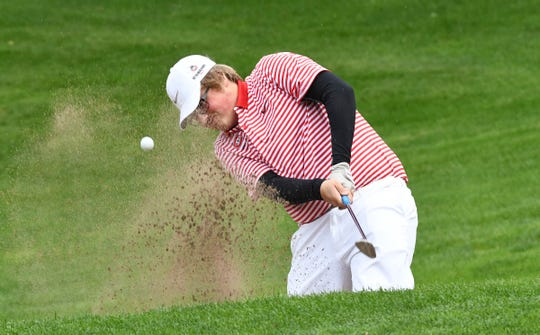 St. Cloud State freshman Carter Doose hits a shot Friday, Sept. 13, 2019 at the St. Cloud Country Club.