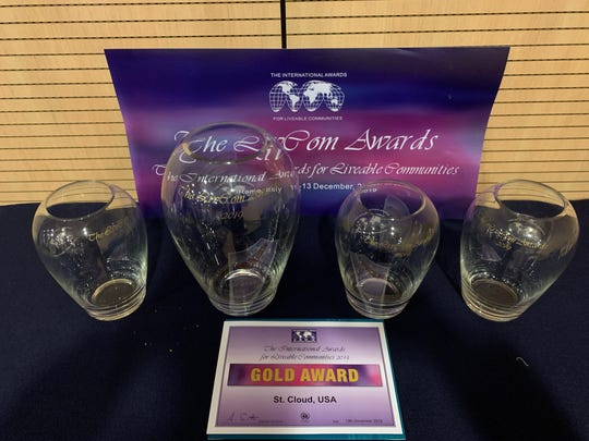 St. Cloud won four awards at the 2019 Livcom Awards on Dec. 13 in Rome. The awards include first-place in its size category for whole city, and first-place in three categories: enhancement of landscapes and public spaces; arts, culture and heritage; and community participation.