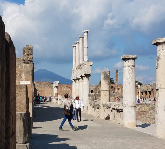 Pompeii, which lies between Naples and Sorrento, was wiped out by Mount Vesuvius wiped out.