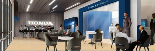 A rendering of what customer lounge areas are to look like in the new El Paso Honda facility to be built on Joe Battle Boulevard in far East El Paso.