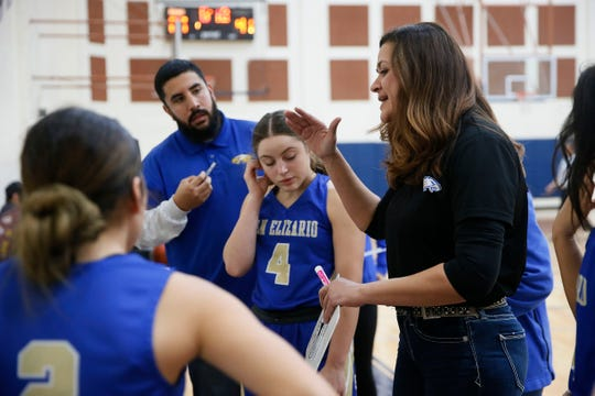 San Elizario head coach Josefina Contreras during the game against San Antonio Roosevelt in the McDonald's Girls Basketball Tournament Friday, Dec. 13, at Del Valle High School in El Paso.