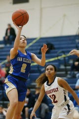 San Elizario's Arlene Saucedo goes against San Antonio Roosevelt defense in the McDonald's Girls Basketball Tournament Friday, Dec. 13, at Del Valle High School in El Paso.