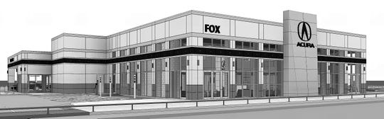 A rendering of what the new Fox Acura facility is to look like when it opens in January at 7750 Gateway East Blvd., near McRae Boulevard in East El Paso.