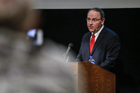 Republican candidate Tom Tiffany answers questions from the panelists Thursday night, Dec. 12, 2019, at the Westwood Conference Center in Wausau.