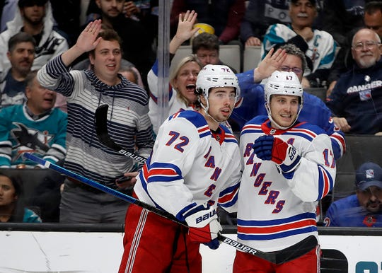 New York Rangers' Jesper Fast, right, celebrates with Filip Chytil (72) after scoring against the San Jose Sharks in the second period of an NHL hockey game Thursday, Dec. 12, 2019, in San Jose, Calif.