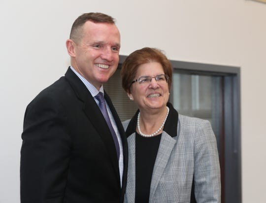 Kenneth Daly, left, with STAC president Dr. Margaret Fitzpatrick, is announced as president-elect of St. Thomas Aquinas College in Sparkill on Friday, December 13, 2019.
