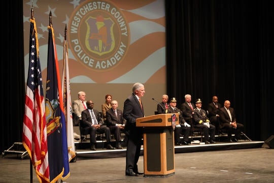 Public Safety Commissioner Thomas Gleason speaks at the Westchester County Police Academy's 148th session police recruit graduation ceremony Dec. 13, 2019 at SUNY Purchase Performing Arts Center. Seventy-seven graduates are headed off to work at 15 law enforcement agencies in Westchester County and one in Putnam County.