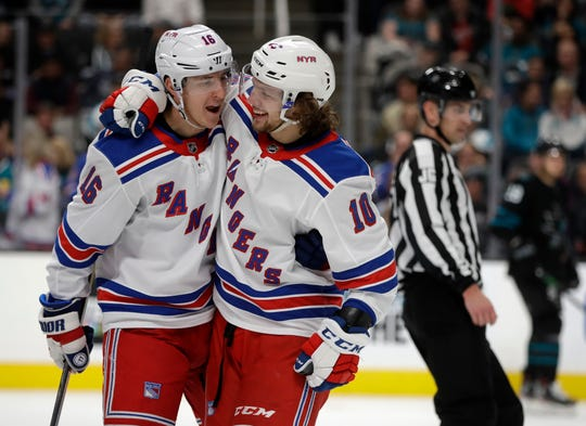 New York Rangers' Artemi Panarin, right, celebrates with Ryan Strome (16) after scoring against the San Jose Sharks in the second period of an NHL hockey game Thursday, Dec. 12, 2019, in San Jose, Calif.
