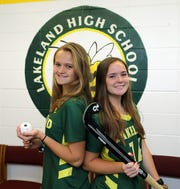 Lakeland teammates Erin Daly, left, and Jenna McCrudden share the Westchester/Putnam field hockey player of the year award. Here they are pictured at the school in Shrub Oak, Dec. 13, 2019.