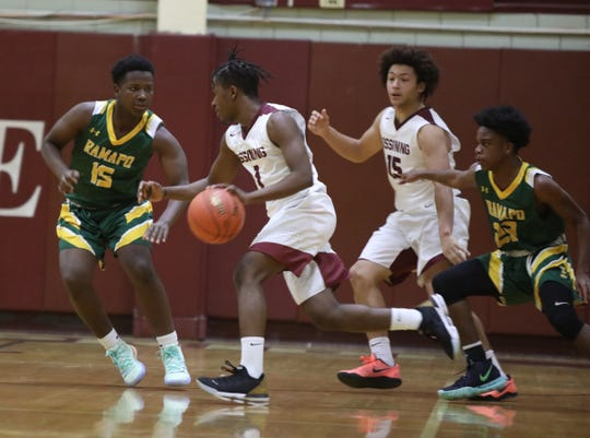 Khy'Leil Hawkins drives during a game against Ramapo at Ossining High School on Dec. 12, 2019.