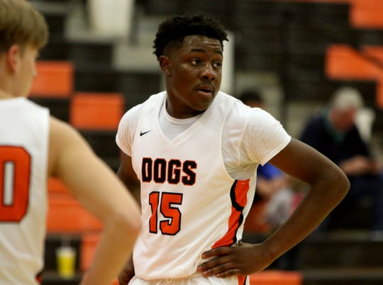 Burkburnett's Doriean Smith waits to take a free throw against Plainview Thursday, Dec. 12, 2019, in the Union Square Bulldog Classic in Burkburnett. The Bulldogs defeated Plainview 46-44.