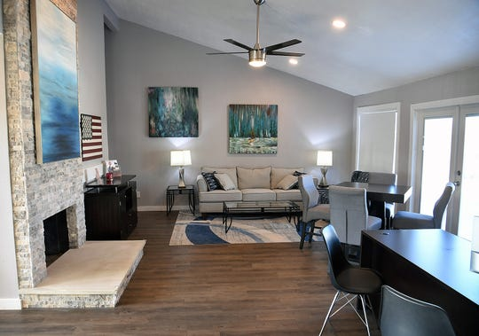 A living-room style meeting area is part of the apartment complex offices at The Maverick on Seymour apartments. The property is completing a $1.7 million renovation.