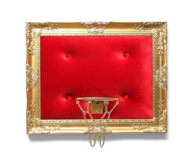 """The """"King James"""" basketball hoop frame by Fancy.com."""