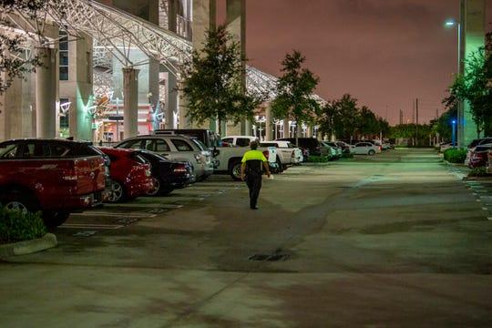 An unidentified G4S guard patrols a Tri-Rail station in Miami