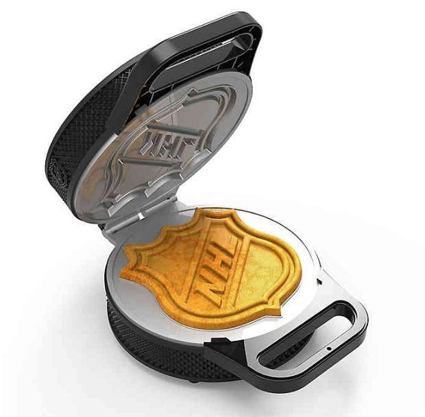 An NHL-themed waffle maker.