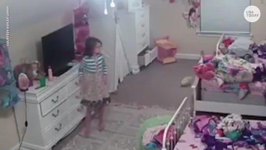 A stranger talks to a girl through a hacked Ring camera.