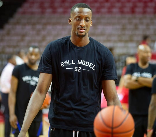 Seton Hall's Romaro Gill wears Roll Model T-shirt during warmups.