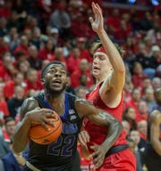 Seton Hall Myles Cales drives to the basket. Seton Hall Basketball at Rutgers in Piscataway, NJ on 12/12/19.