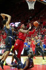 Rutgers Shaq Carter goes up with a first half shot. Seton Hall Basketball at Rutgers in Piscataway, NJ on 12/12/19.