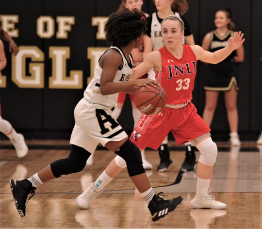 Jim Ned's Brooke Galvin (33) defends against an Abilene High player in the second half.  Jim Ned beat the Lady Eagles 51-22 in the nondistrict game Friday, Dec. 13, 2019, at Eagle Gym.