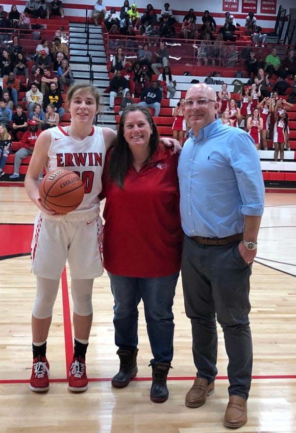Erwin senior Annabelle Schultz scored her 1,000th career point on Tuesday, Dec. 10, 2019.