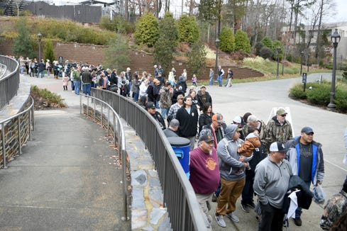 Robbinsville fans wait to be let into Wallace Wade Stadium for the NCHSAA 1A state championship game in Durham on Dec. 14, 2019.