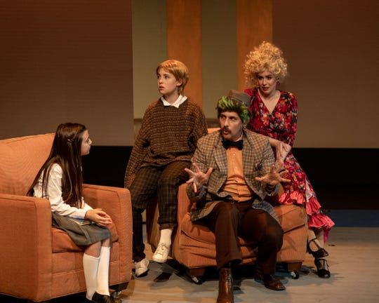 "The Wormwood ""family,"" played by (from left) Olivia Juarez, Sadie Gingold, Jason Gingold and Kayla Teel in Bainbridge Performing Arts' ""Matilda, the Musical."""