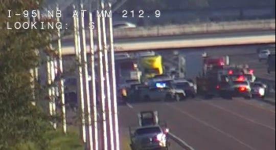 Motorcycle crash on Interstate 95 closes northbound lanes near Titusville.