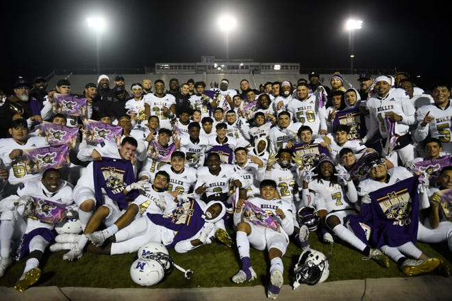 Miller High School's football team poses for a photo after winning District Champions at the game against Moody, Friday, Nov. 8, 2019, at Cabaniss. This is the team's first undefeated season since 1955.