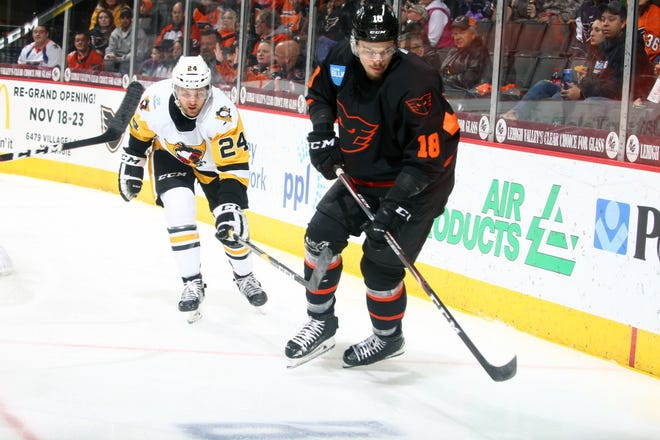 Carsen Twarynski made the Flyers' opening game roster and, after Sunday's transaction, has been recalled twice more so far this season.
