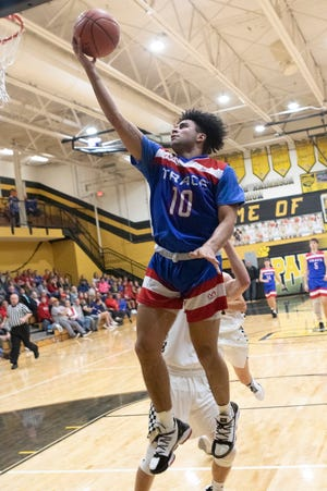 Zane Trace guard Cam Evans goes up for a layup in a 65-24 win over Paint Valley on Dec. 13, 2019, in Bainbridge, Ohio. Evans earned first team honors on the Gazette's Way-Too-Early All-Gazette Basketball Team.