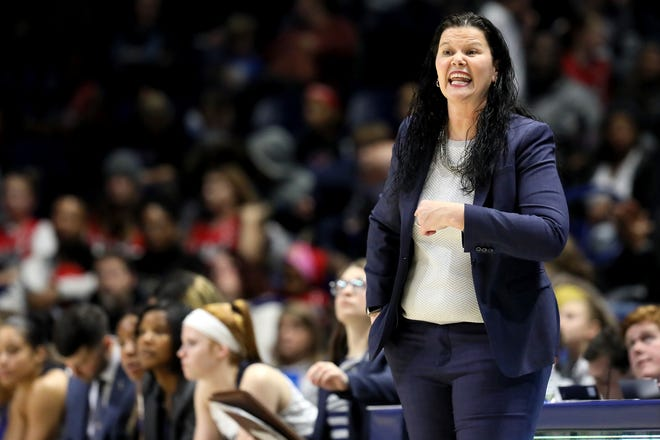 Xavier Musketeers head coach Melanie Moore instructs the team during the second half of a NCAA women's college basketball game against the Cincinnati Bearcats, Saturday, Dec. 14, 2019, at Cintas Center in Cincinnati. Cincinnati Bearcats won 85-78.