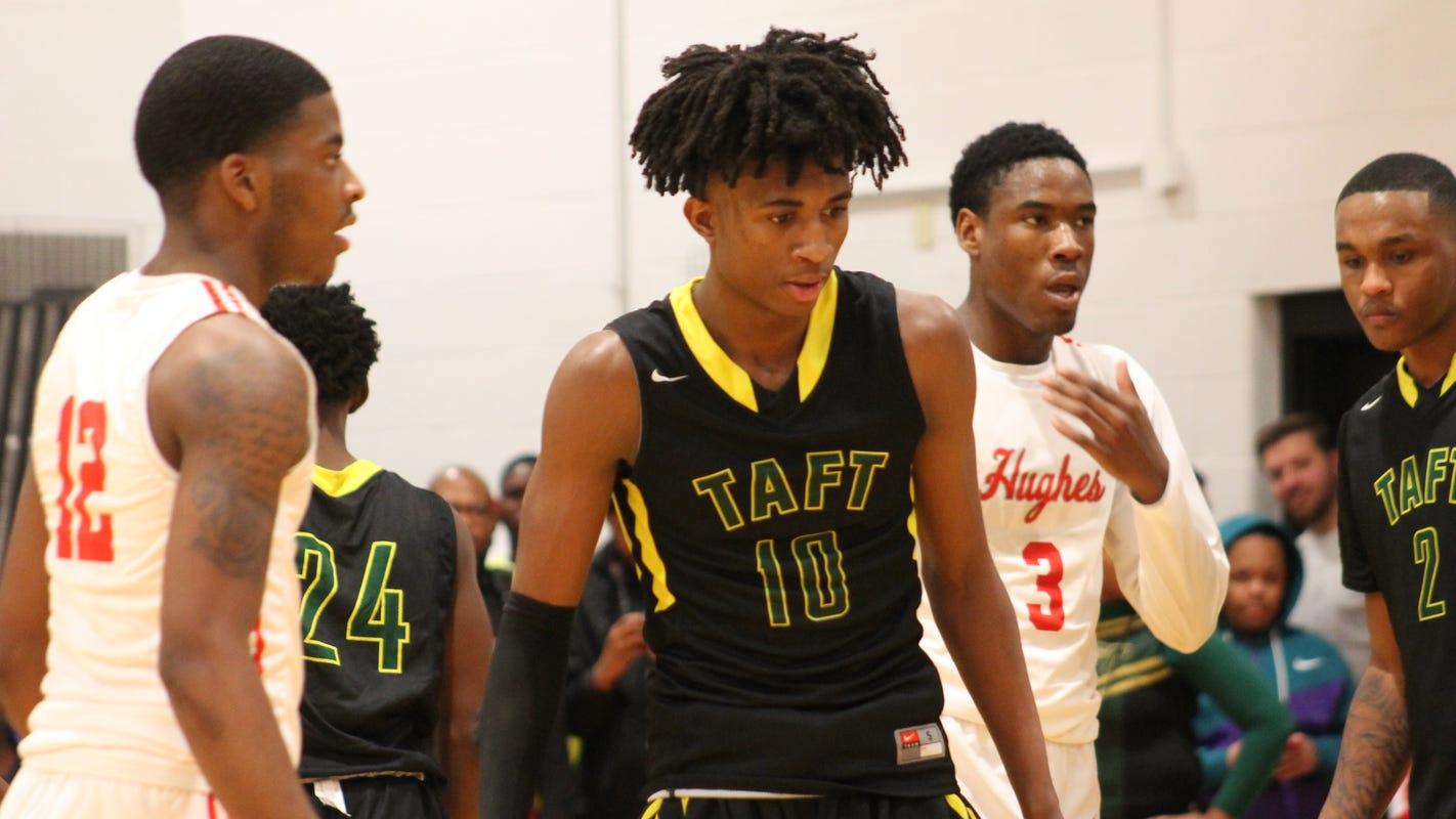Spotlight follows Taft basketball freshman Rayvon Griffith in return visit to Hughes