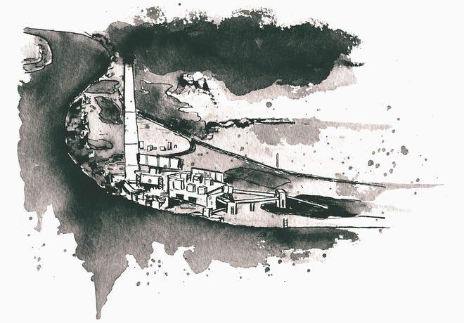 Illustration of the R.E. Burger power plant by David Wilson/Belt Magazine.