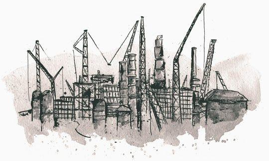 Illustration of Shell's ethane cracker plant by David Wilson/Belt Magazine.