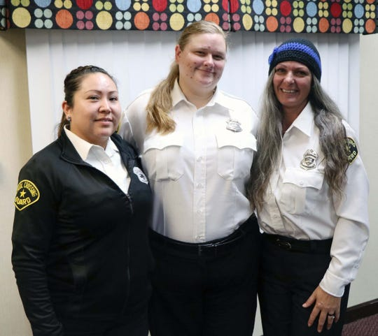 Clarksville crossing guards, from left, Vanna Gibson, Raphaela Velasquez and Barbie Hemmingsen recently visited City Hall to appeal for community help in getting drivers to behave in school zones.