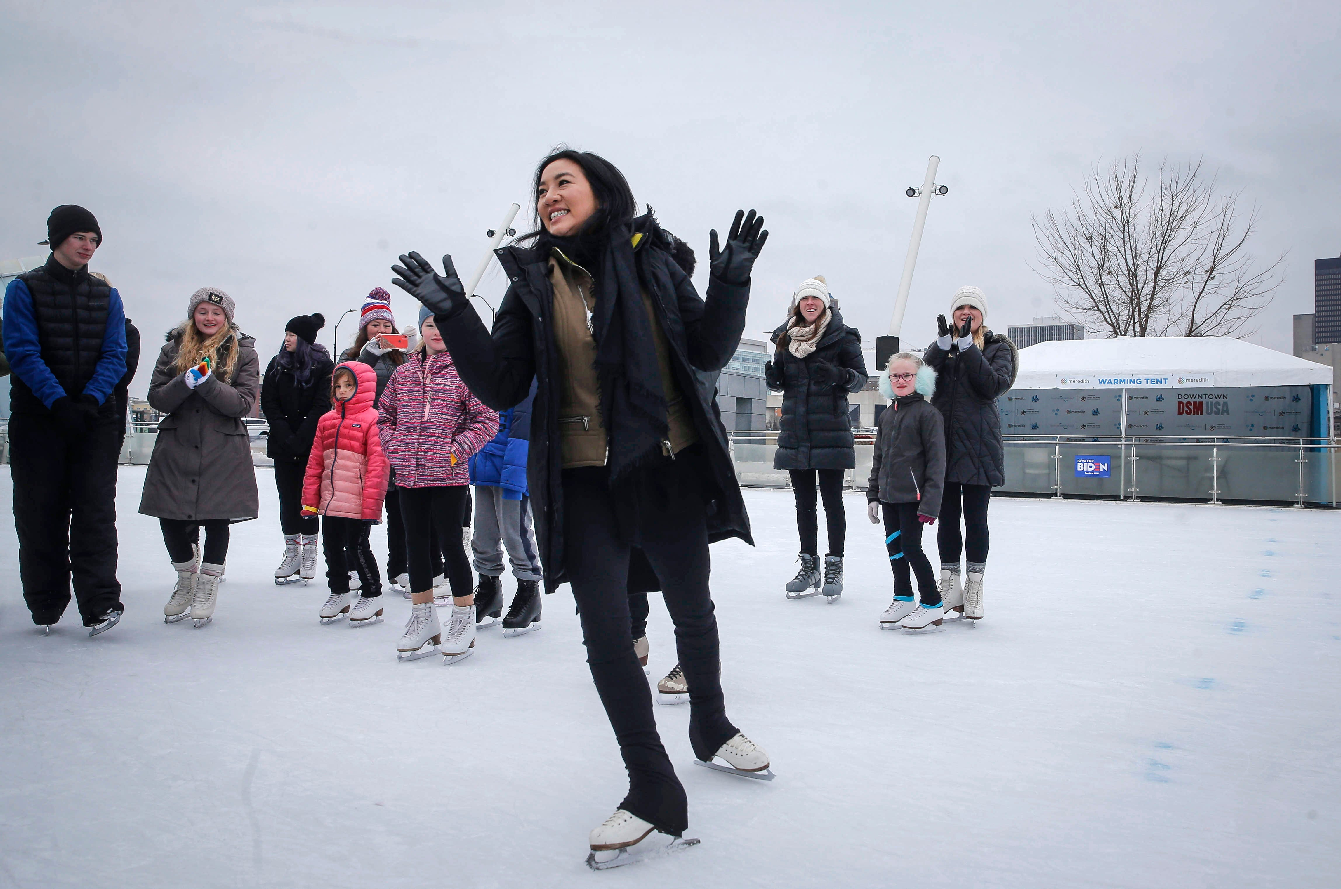 Photos: Michelle Kwan skates for Joe Biden in Des Moines