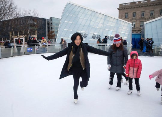 Olympic figure skater Michelle Kwan visited with fans and young skaters as well as supporters of Joe Biden on Saturday, Dec. 14, 2019, at the Brenton Skating Plaza in Des Moines.