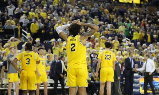 Michigan forward Isaiah Livers reacts after U-M's 71-70 overtime loss to Oregon on Saturday, Dec. 14, 2019, at Crisler Center.