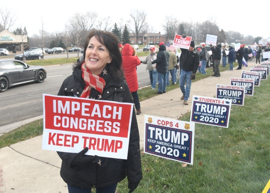 Marian Sheridan, of the Michigan Trump Republicans, organized the rally on Saturday, December 14, 2019 in Bloomfield Hills.