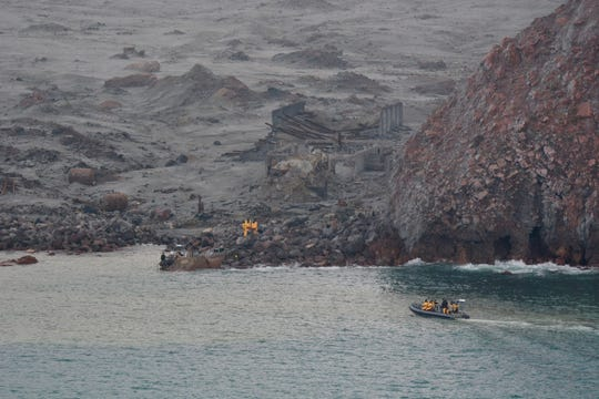 This photo released by the New Zealand Defence Force shows an operation to recover bodies from White Island after a volcanic eruption in Whakatane, New Zealand, Friday, Dec. 13, 2019.