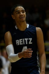 Reitz's Khristian Lander (4) reacts as a foul is called on him during the match up against the Mater Dei Wildcats at Mater Dei High School in Evansville, Ind., Friday, Dec. 13, 2019.