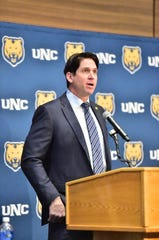 Former Denver Broncos star Ed McCaffrey talks to an audience of about 100 supporters Friday, Dec, 13, 2019, while being introduced as the new head football coach at the University of Northern Colorado in Greeley.